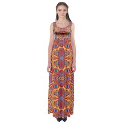 Oriental Watercolor Ornaments Kaleidoscope Mosaic Empire Waist Maxi Dress by EDDArt