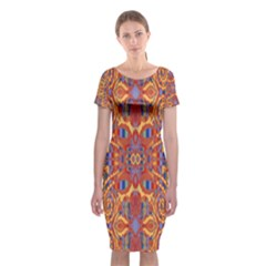 Oriental Watercolor Ornaments Kaleidoscope Mosaic Classic Short Sleeve Midi Dress by EDDArt