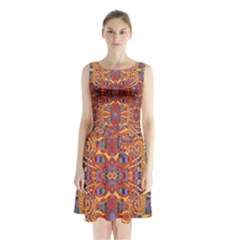 Oriental Watercolor Ornaments Kaleidoscope Mosaic Sleeveless Chiffon Waist Tie Dress by EDDArt