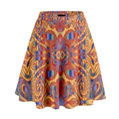 Oriental Watercolor Ornaments Kaleidoscope Mosaic High Waist Skirt by EDDArt