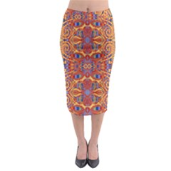 Oriental Watercolor Ornaments Kaleidoscope Mosaic Midi Pencil Skirt by EDDArt