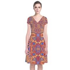 Oriental Watercolor Ornaments Kaleidoscope Mosaic Short Sleeve Front Wrap Dress