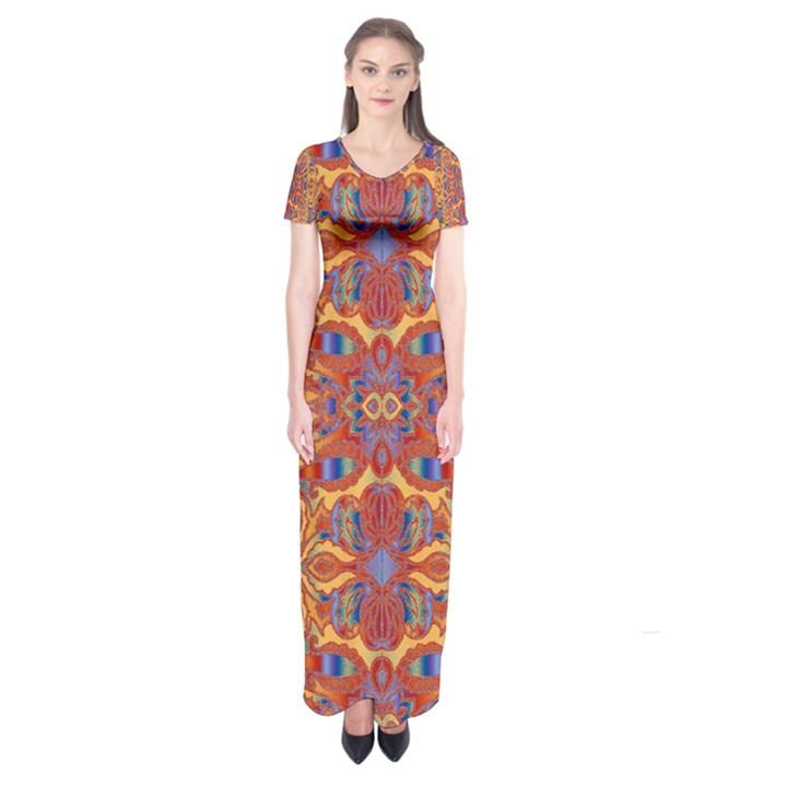 Oriental Watercolor Ornaments Kaleidoscope Mosaic Short Sleeve Maxi Dress