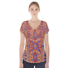 Oriental Watercolor Ornaments Kaleidoscope Mosaic Short Sleeve Front Detail Top by EDDArt
