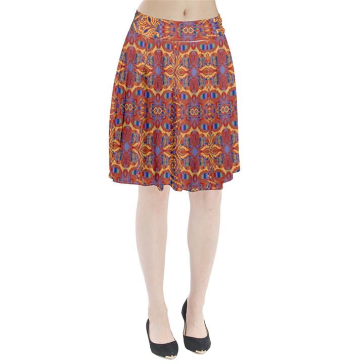 Oriental Watercolor Ornaments Kaleidoscope Mosaic Pleated Skirt