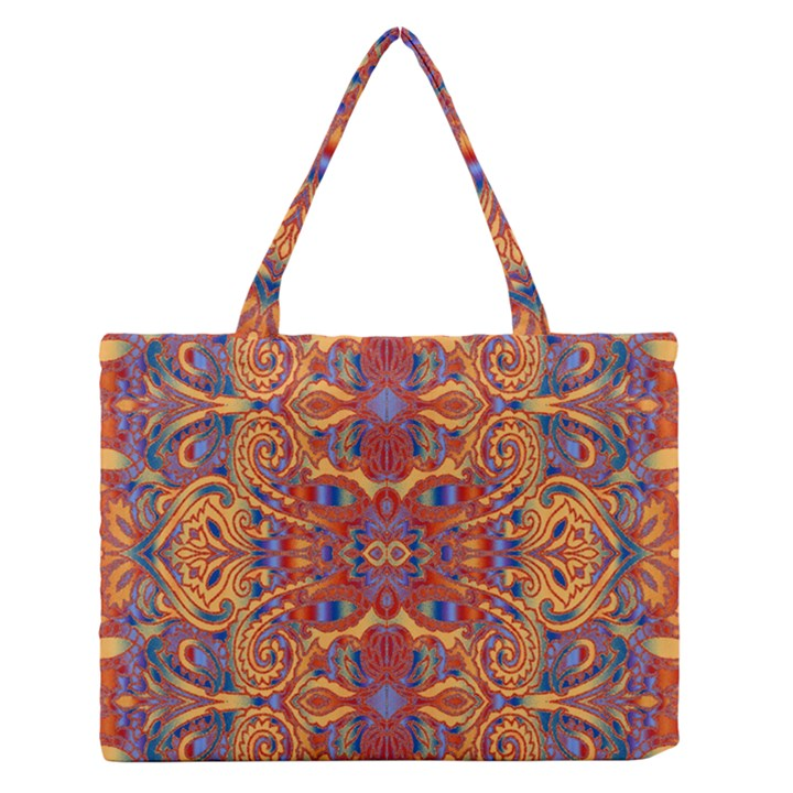 Oriental Watercolor Ornaments Kaleidoscope Mosaic Medium Zipper Tote Bag