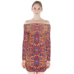 Oriental Watercolor Ornaments Kaleidoscope Mosaic Long Sleeve Off Shoulder Dress