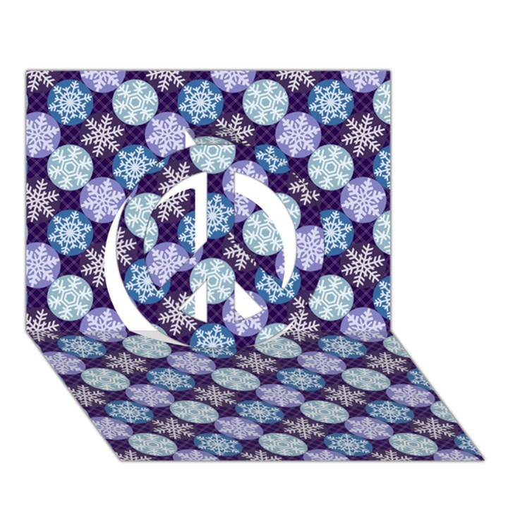 Snowflakes Pattern Peace Sign 3D Greeting Card (7x5)