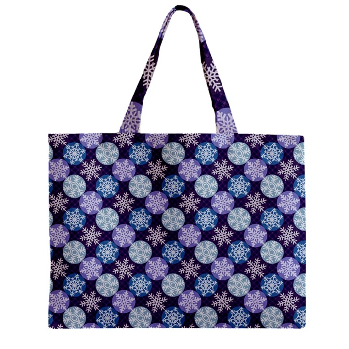 Snowflakes Pattern Zipper Mini Tote Bag