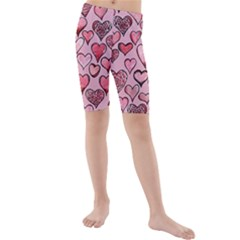 Artistic Valentine Hearts Kids  Mid Length Swim Shorts by BubbSnugg