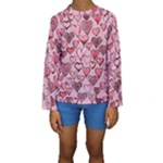 Artistic Valentine Hearts Kids  Long Sleeve Swimwear