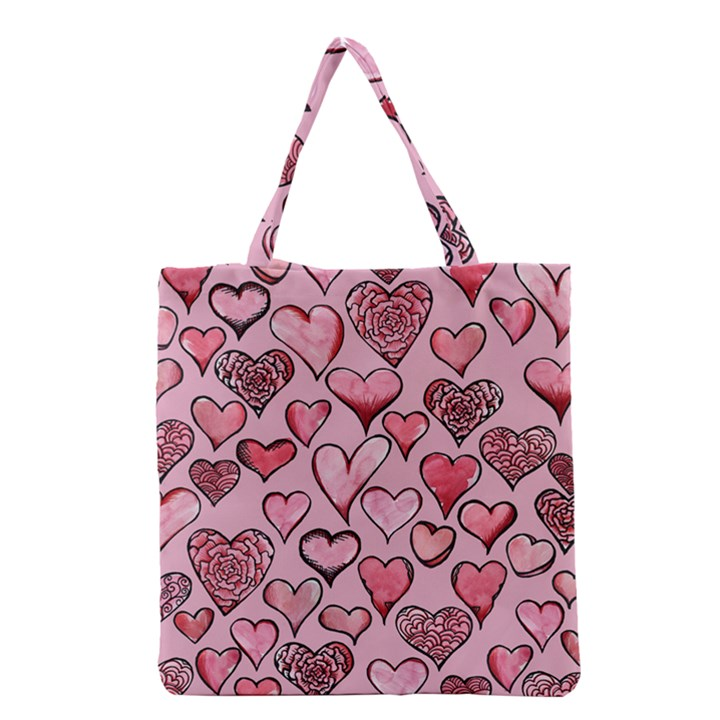 Artistic Valentine Hearts Grocery Tote Bag