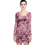 Artistic Valentine Hearts Long Sleeve Bodycon Dress