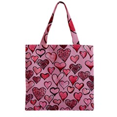 Artistic Valentine Hearts Zipper Grocery Tote Bag by BubbSnugg