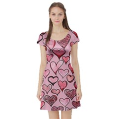 Artistic Valentine Hearts Short Sleeve Skater Dress by BubbSnugg