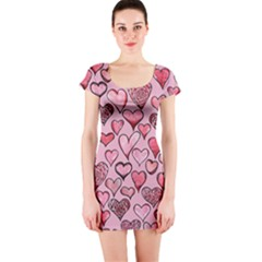 Artistic Valentine Hearts Short Sleeve Bodycon Dress by BubbSnugg