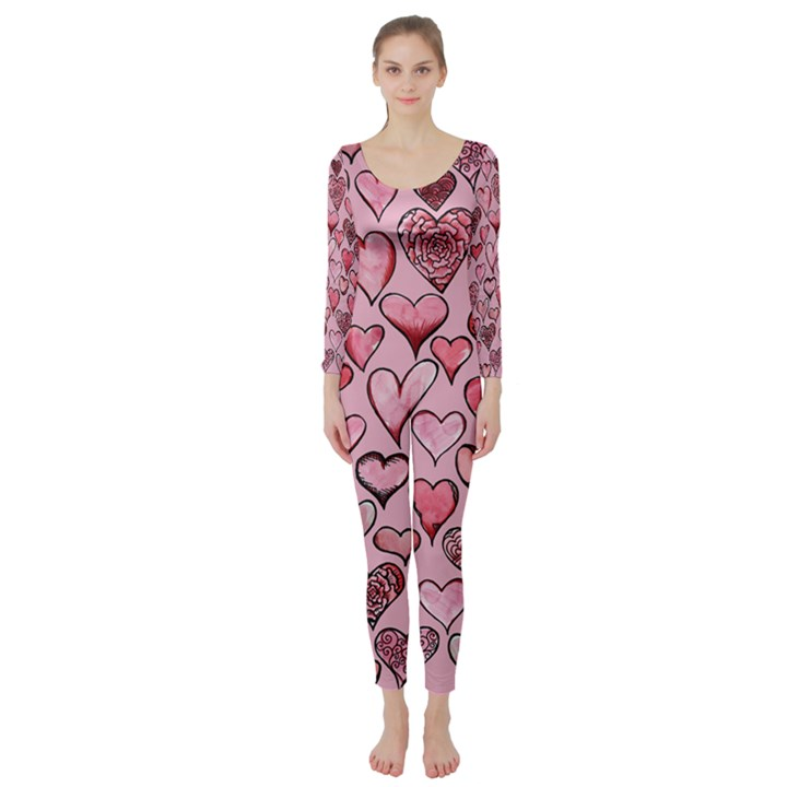 Artistic Valentine Hearts Long Sleeve Catsuit