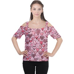 Artistic Valentine Hearts Women s Cutout Shoulder Tee