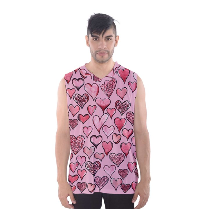 Artistic Valentine Hearts Men s Basketball Tank Top