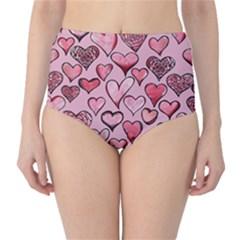Artistic Valentine Hearts High Waist Bikini Bottoms by BubbSnugg