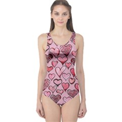 Artistic Valentine Hearts One Piece Swimsuit by BubbSnugg