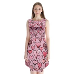 Artistic Valentine Hearts Sleeveless Chiffon Dress   by BubbSnugg