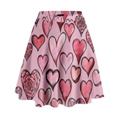 Artistic Valentine Hearts High Waist Skirt by BubbSnugg