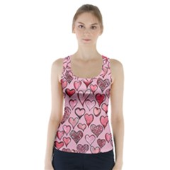 Artistic Valentine Hearts Racer Back Sports Top