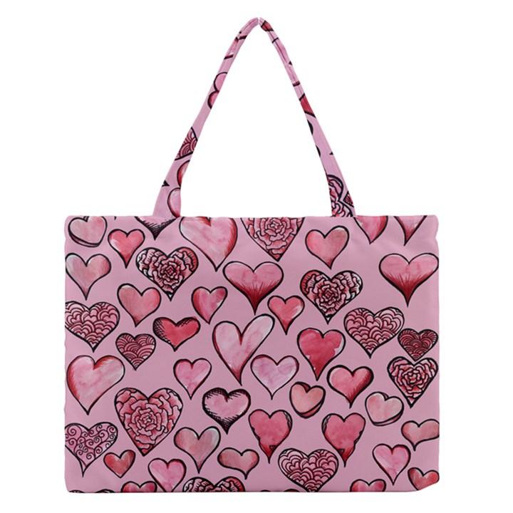 Artistic Valentine Hearts Medium Zipper Tote Bag