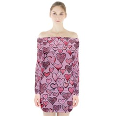 Artistic Valentine Hearts Long Sleeve Off Shoulder Dress by BubbSnugg