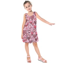 Artistic Valentine Hearts Kids  Sleeveless Dress by BubbSnugg
