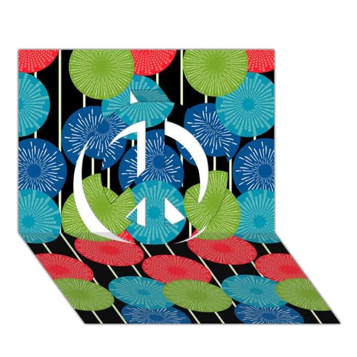 Vibrant Retro Pattern Peace Sign 3D Greeting Card (7x5)