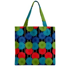 Vibrant Retro Pattern Grocery Tote Bag by DanaeStudio