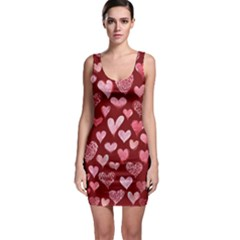 Watercolor Valentine s Day Hearts Sleeveless Bodycon Dress