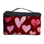 Watercolor Valentine s Day Hearts Cosmetic Storage Case