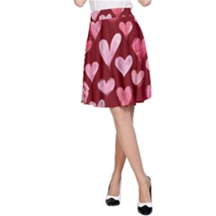 Watercolor Valentine s Day Hearts A-Line Skirt