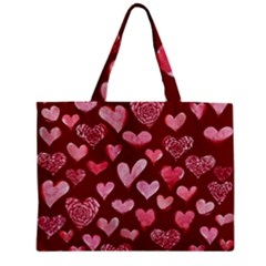 Watercolor Valentine s Day Hearts Zipper Mini Tote Bag
