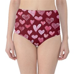 Watercolor Valentine s Day Hearts High-Waist Bikini Bottoms