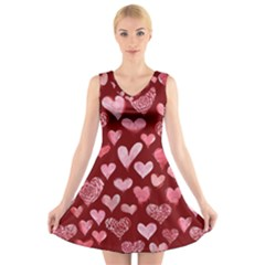 Watercolor Valentine s Day Hearts V-Neck Sleeveless Skater Dress
