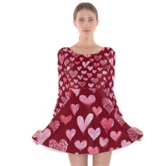 Watercolor Valentine s Day Hearts Long Sleeve Velvet Skater Dress