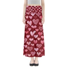 Watercolor Valentine s Day Hearts Maxi Skirts