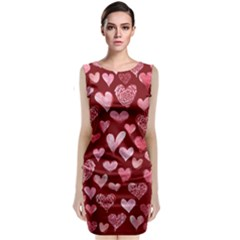 Watercolor Valentine s Day Hearts Classic Sleeveless Midi Dress