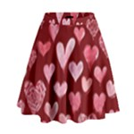 Watercolor Valentine s Day Hearts High Waist Skirt