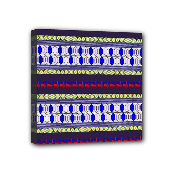 Colorful Retro Geometric Pattern Mini Canvas 4  x 4