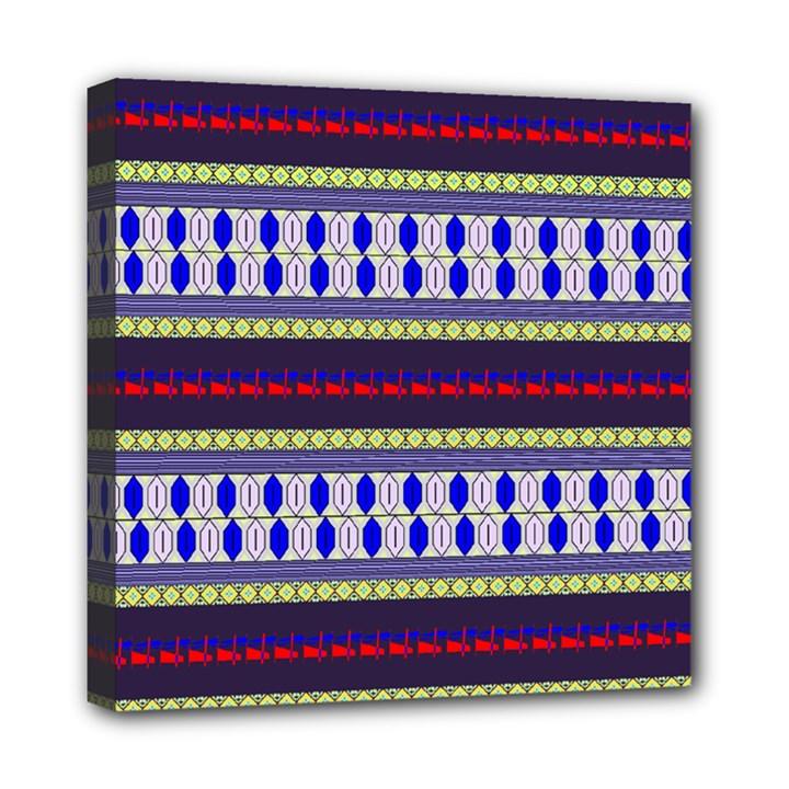 Colorful Retro Geometric Pattern Mini Canvas 8  x 8