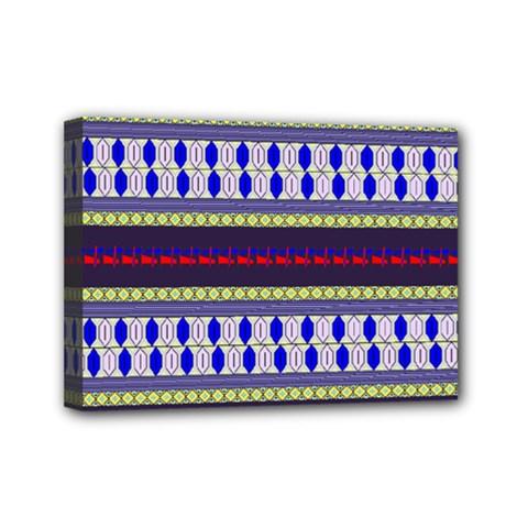 Colorful Retro Geometric Pattern Mini Canvas 7  X 5