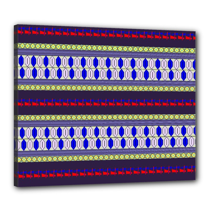Colorful Retro Geometric Pattern Canvas 24  x 20