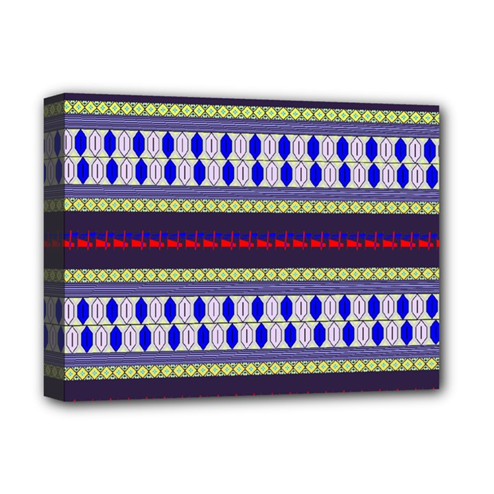 Colorful Retro Geometric Pattern Deluxe Canvas 16  x 12