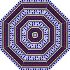 Colorful Retro Geometric Pattern Hook Handle Umbrellas (medium)