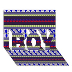 Colorful Retro Geometric Pattern Boy 3d Greeting Card (7x5) by DanaeStudio